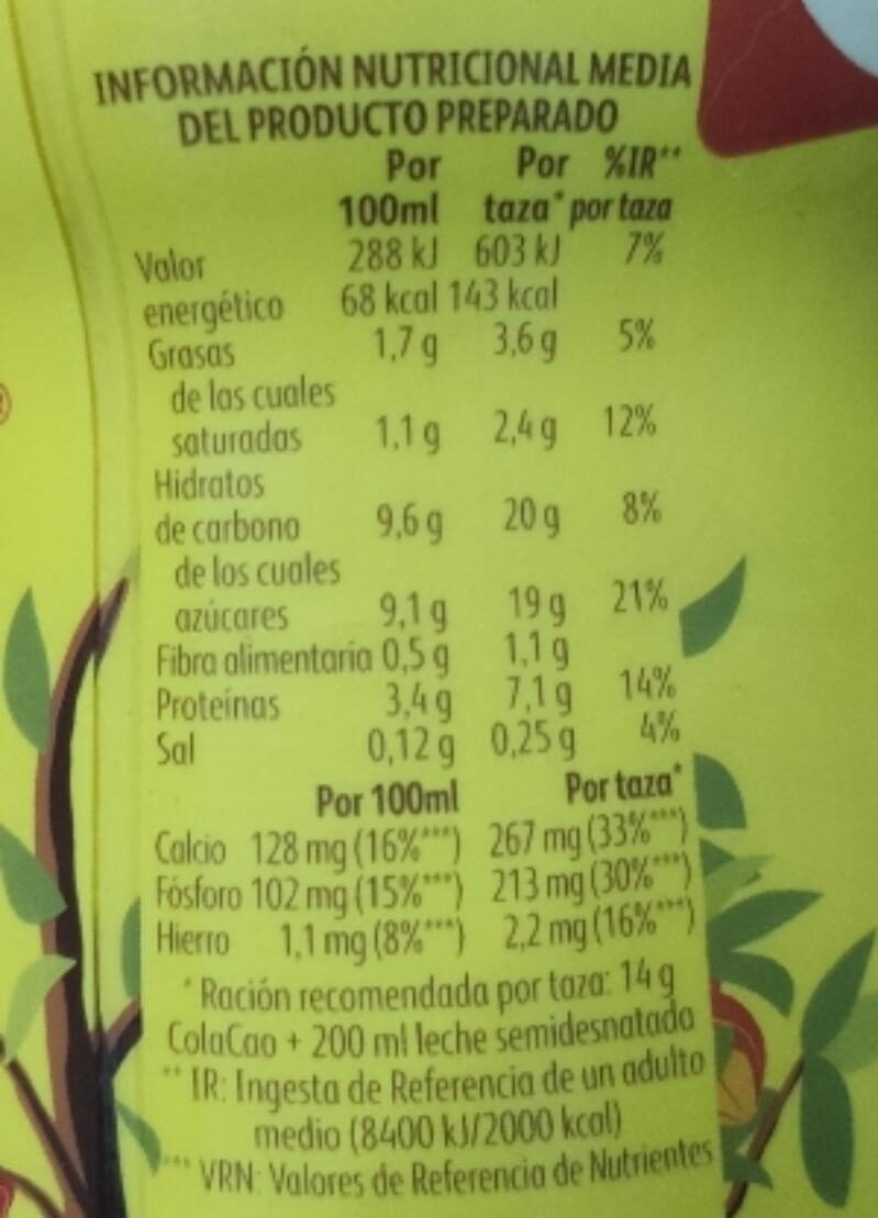 Cola Cao el original - Nutrition facts - es