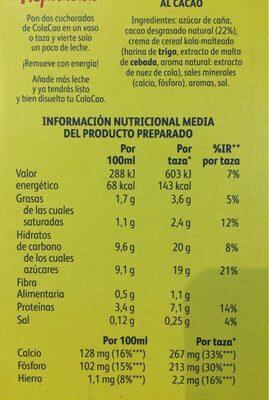 Cola Cao - Información nutricional