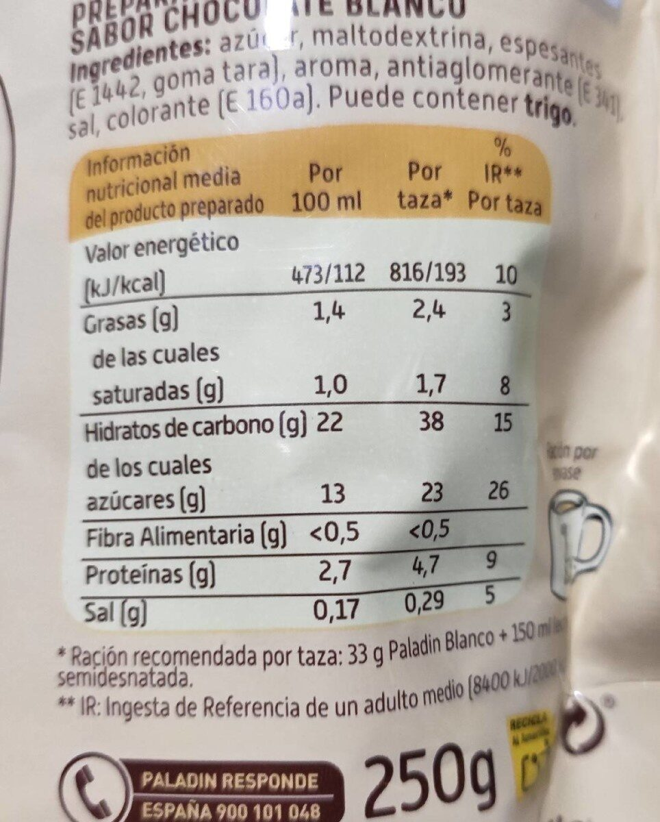 Paladín Blanco - Nutrition facts