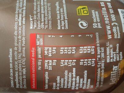 Nocilla Original Fluida - Valori nutrizionali - es
