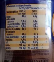 Chocoleche - Valori nutrizionali - es