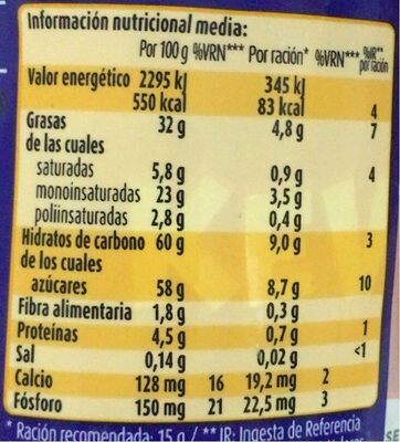 Nocilla chocoleche - Nutrition facts - es