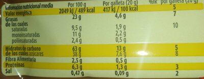 Cookies rellenas de Nocilla - Valori nutrizionali - es