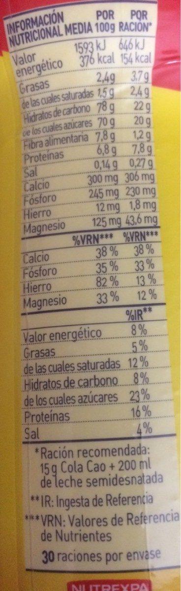 ColaCao - Voedingswaarden - es