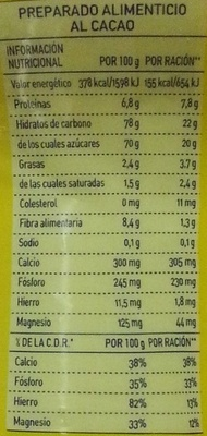 Colacao - Nutrition facts - es