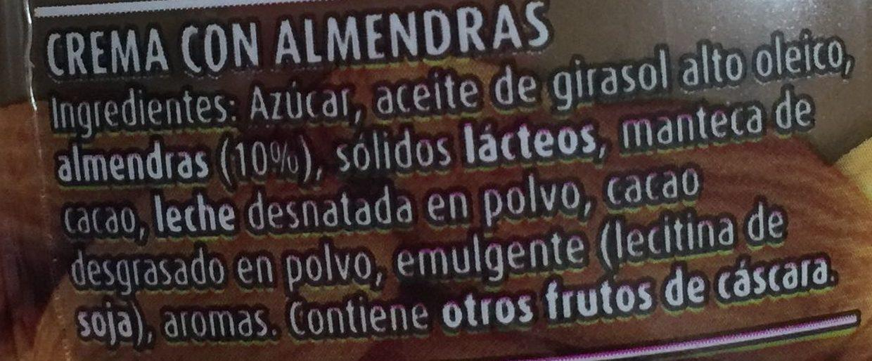 Nocilla Almandras - Ingredients - es