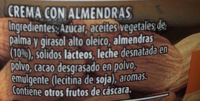 Nocilla Almendras - Crema Al Cacao Con Almendras Sin Gluten - Nocilla - Ingredienti - fr