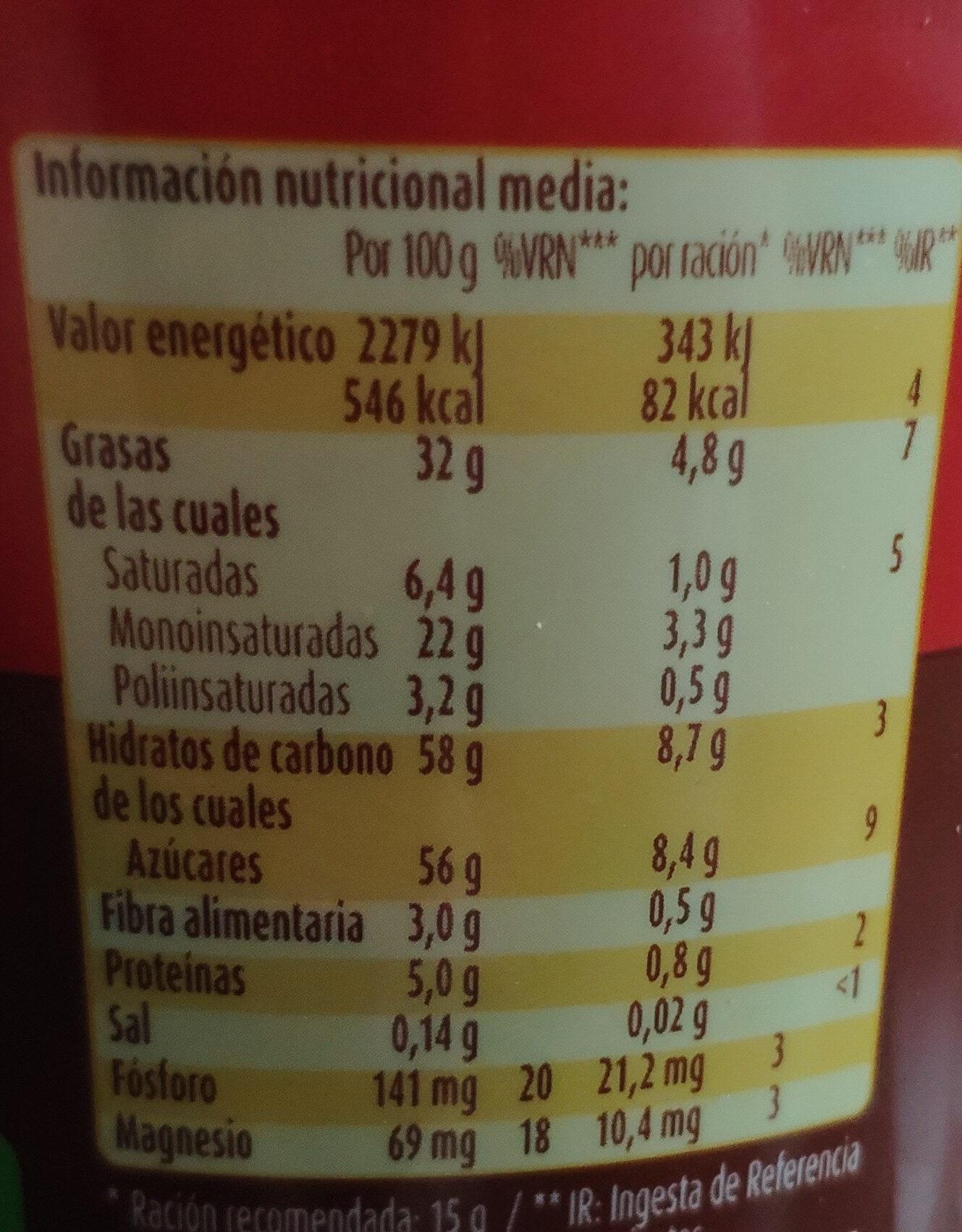 Nocilla original - Valori nutrizionali - es