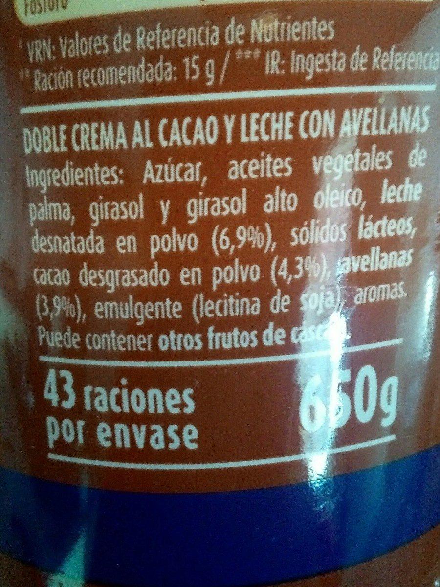 Chocoleche crema de cacao, avellanas y leche - Ingredientes - es