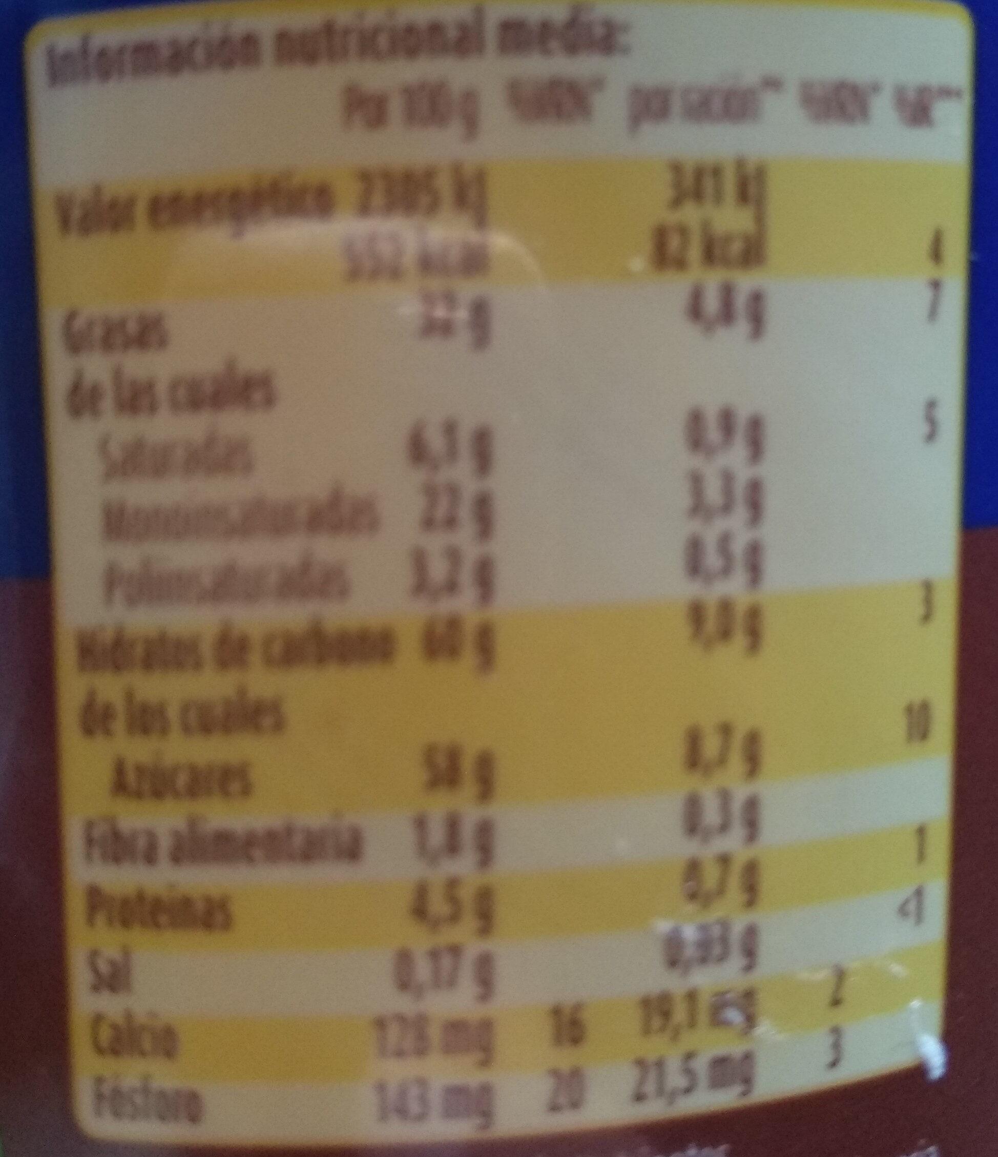 Chocoleche crema de cacao, avellanas y leche - Información nutricional - es