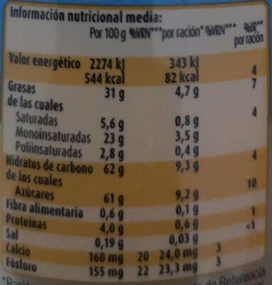 Crema de leche sin aceite de palma vaso - Voedingswaarden - es
