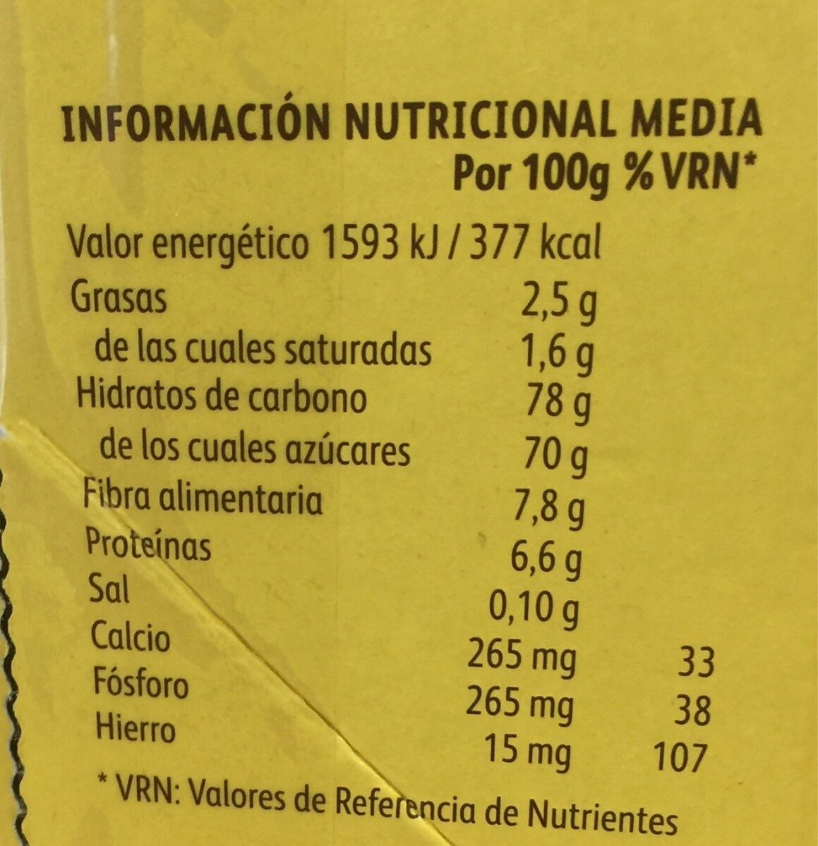 Colacao - Informations nutritionnelles