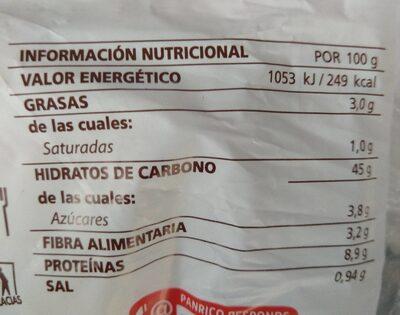 Pan de molde hostelería - Información nutricional