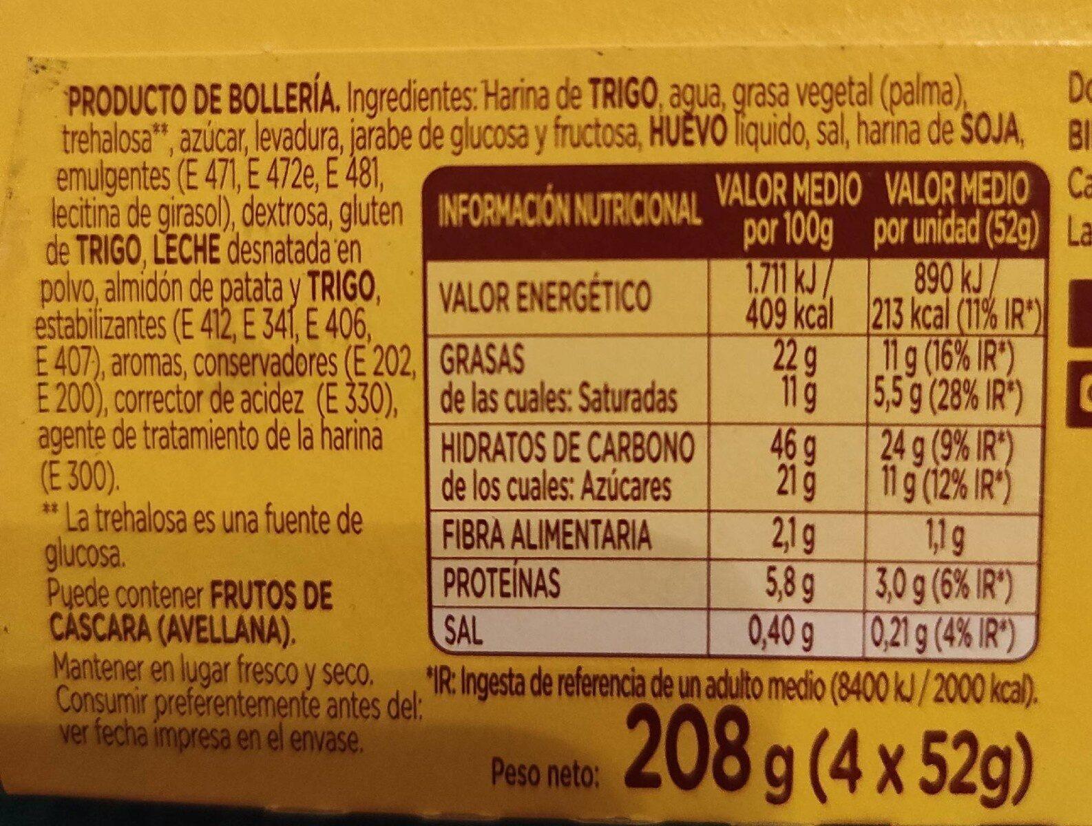 Donuts x4 - Informació nutricional - es
