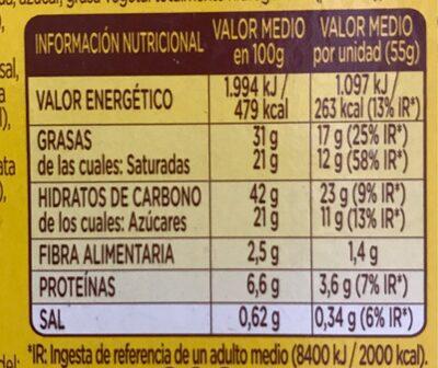 Donuts bombon - Informació nutricional - fr