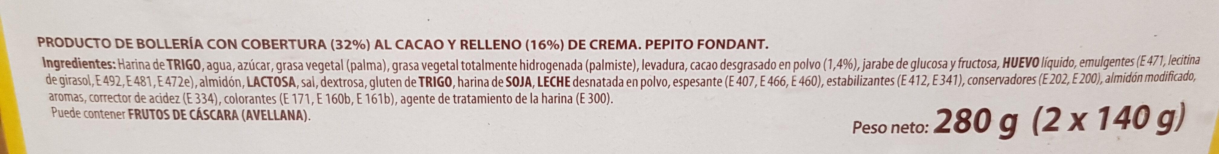 Pepito de chocolate - Ingredients
