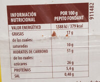Pepito de chocolate - Informació nutricional