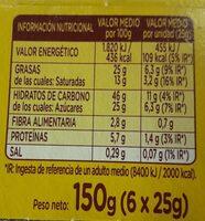 Mini Glacé Pocket - Informació nutricional - es