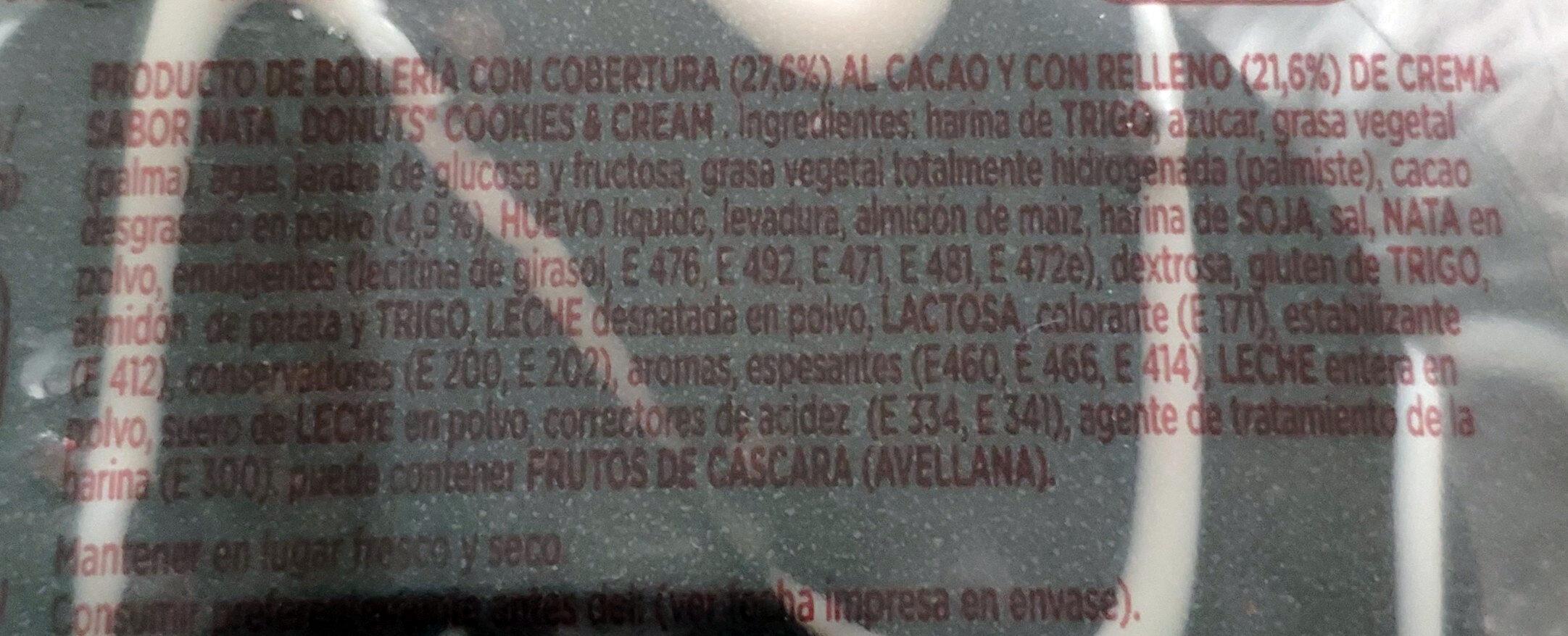 Donuts cookies & cream - Ingredients - es