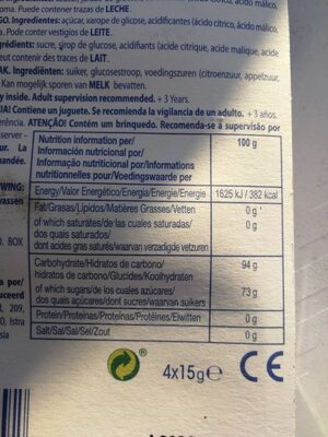 Melody Pops strawberry - Nutrition facts - fr