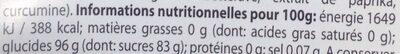 Lot de 15 lolipops - Informations nutritionnelles
