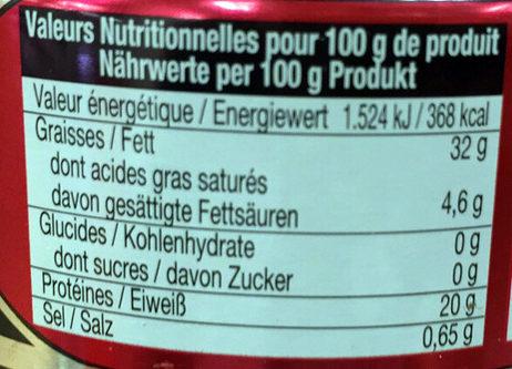 Thon Blanc Entier - Informations nutritionnelles