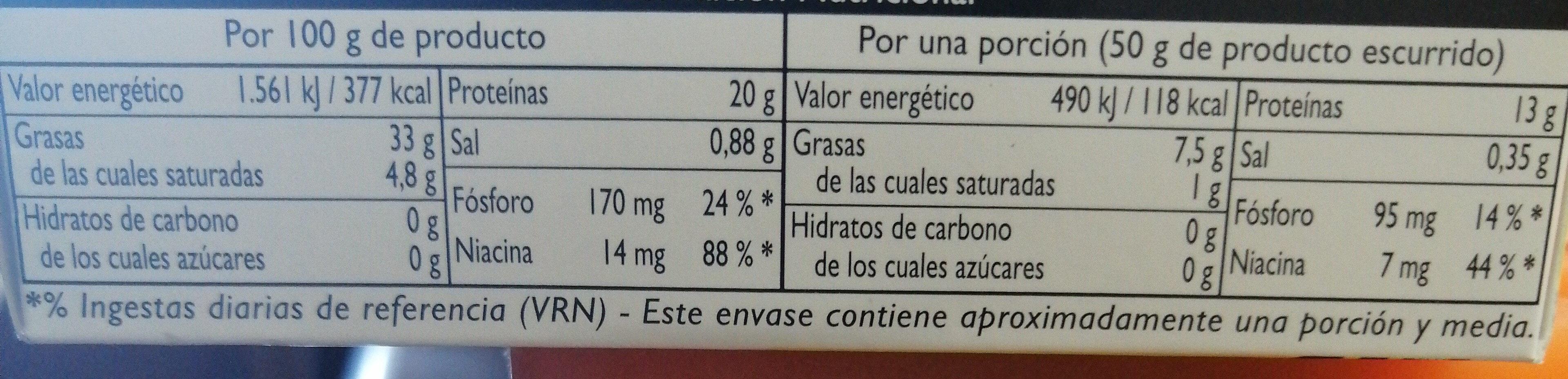 Atún claro en aceite de oliva lata 82 g - Informations nutritionnelles