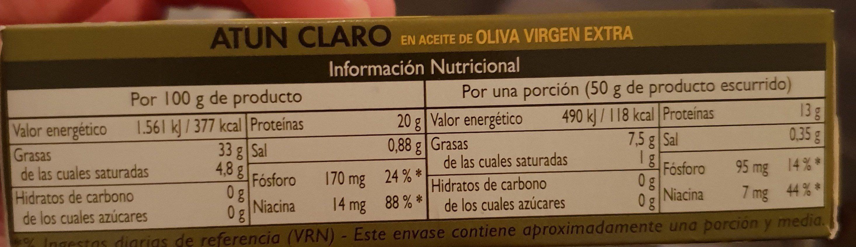 Atún claro en aceite de oliva virgen extra - Ingrédients