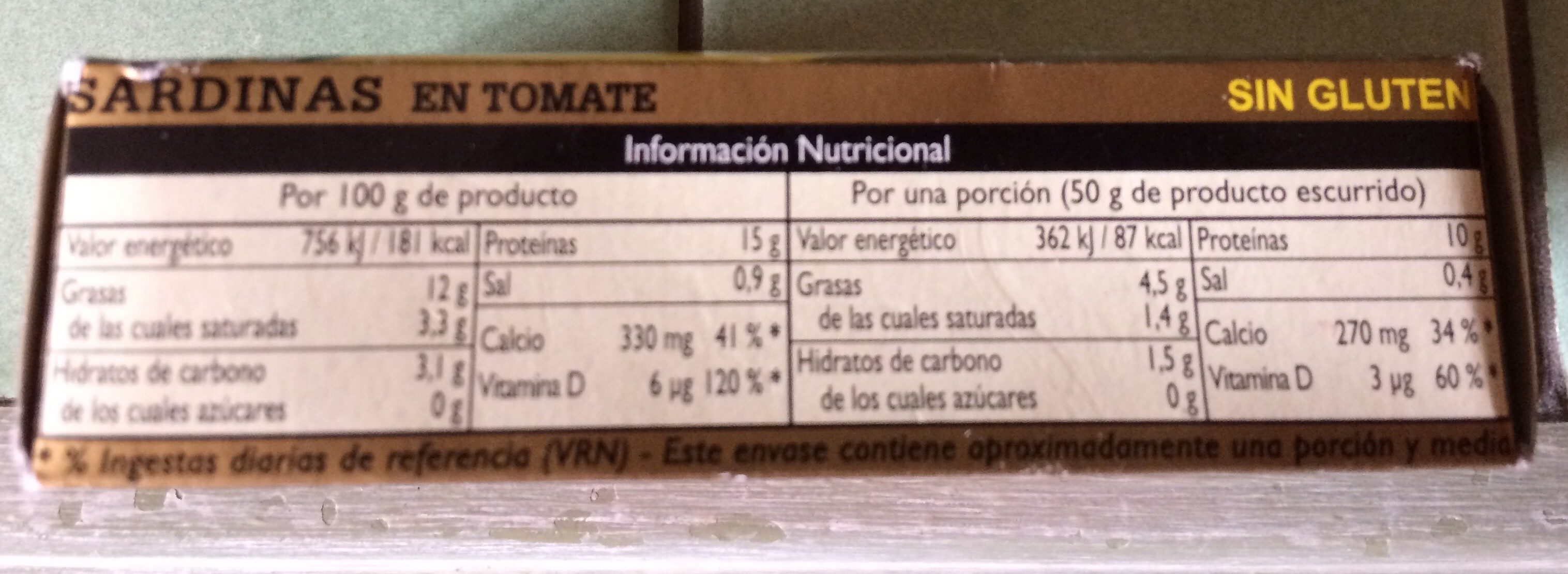 Sardines à la tomate - Ingrediënten
