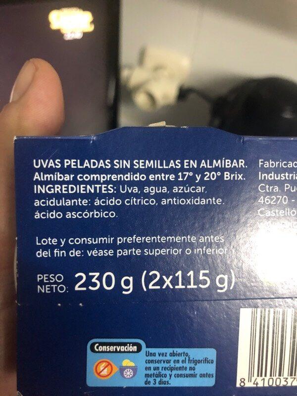Uvas en almíbar - Ingredientes - es