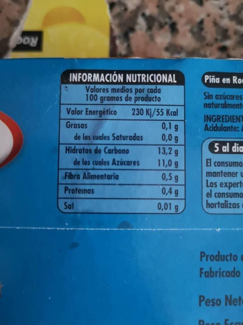 Piña en su jugo - Información nutricional