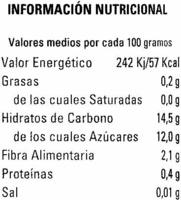 "Mezcla de frutas rojas en zumo de uva ""Videca"" - Informació nutricional"