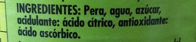 Pera en almíbar Ligero - Ingrédients
