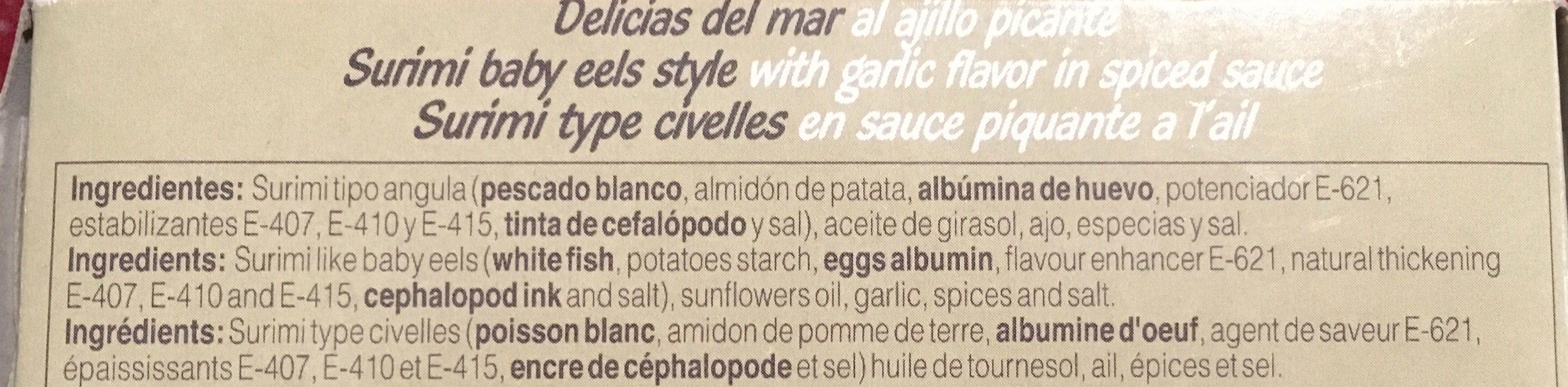 Delicias De Mar Al Ajillo Picante Paypay 115 GR - Ingredients