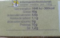 Huevas de pescado - Información nutricional