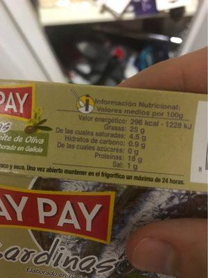 Sardinas De Las Rias Gallegas - Nutrition facts
