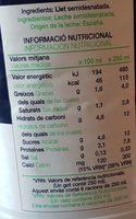 Leche semidesnatada - Ingredientes