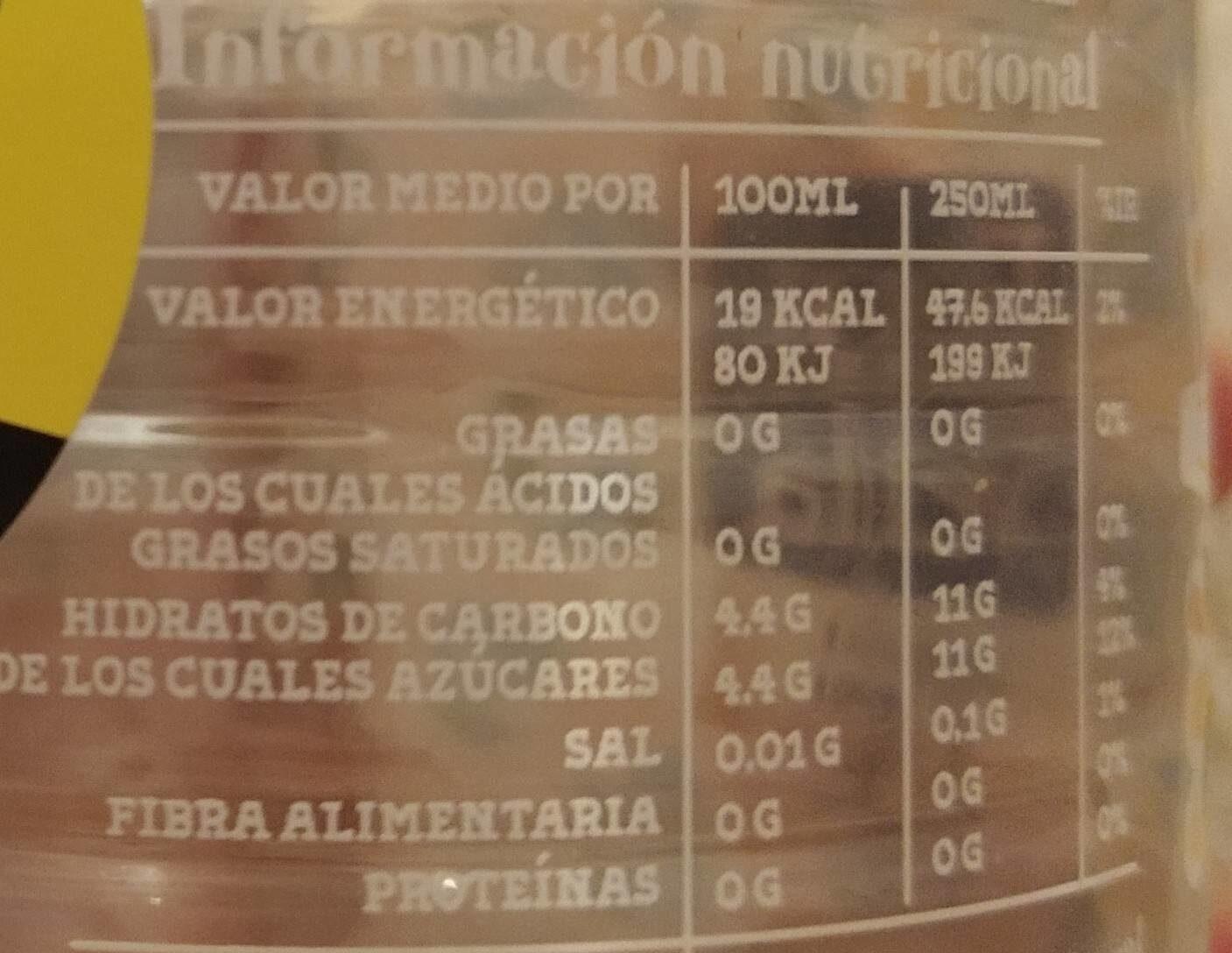 Font Vella Levité Agua Con Extractos De Té Sabor Limón - Nutrition facts - fr