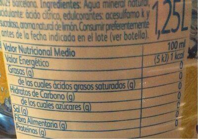 Agua mineral sabor limón+lima azúcares sin calorías - Nutrition facts - fr