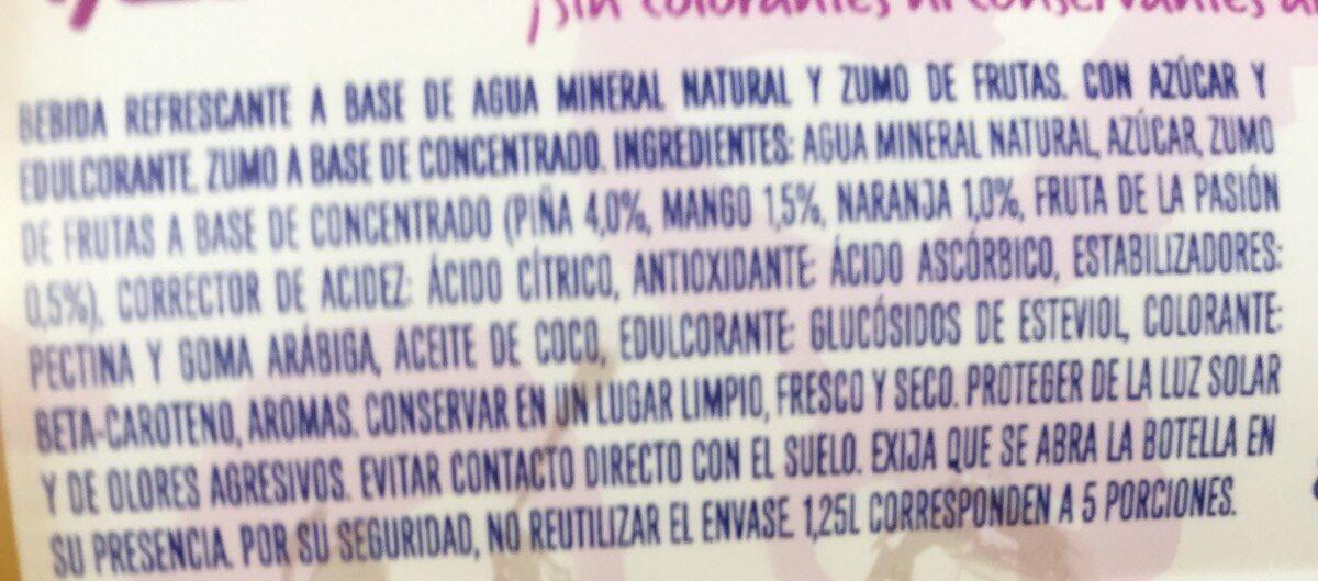 Levité Mango 1,25L Agua Con Zumo - Ingredients - fr