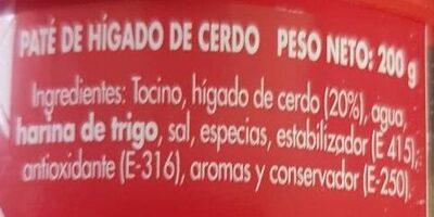 Pate de higado de cerdo - Ingredientes