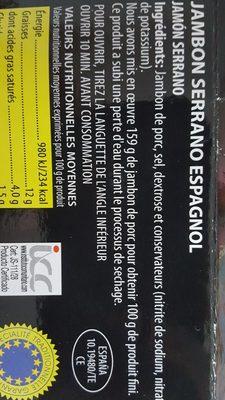 JAMbon serrano Bodega ESPAGNIL - Ingrédients - fr