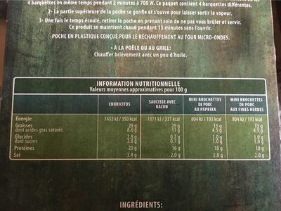Tapas Al Minuto - Informations nutritionnelles - fr