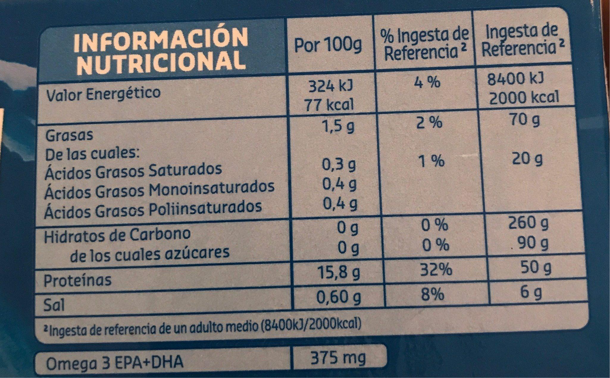 Corazones de filete de merluza - Informació nutricional - fr