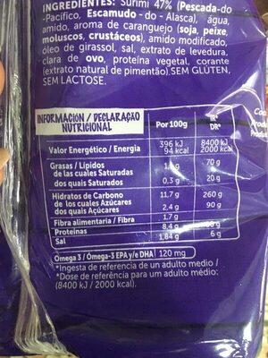 Palitos de Surimi - Información nutricional