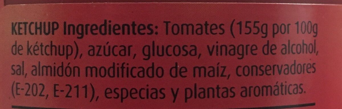 Orlando Ketchup - Ingrediënten - es