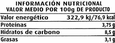 Salsa de mostaza - Voedingswaarden - es