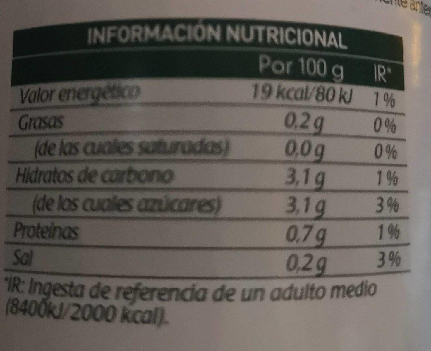 Tomate natural triturado extra al estilo casero - Información nutricional - es