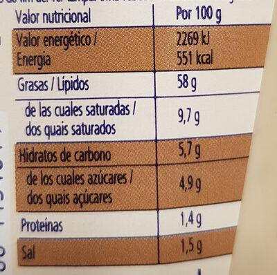 Salsa con sabor a cebolla caramelizada - Informació nutricional - es