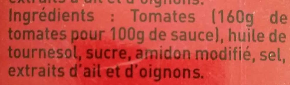 La Sauce Tomate cuisinée Ail & Oignon - Ingrediënten